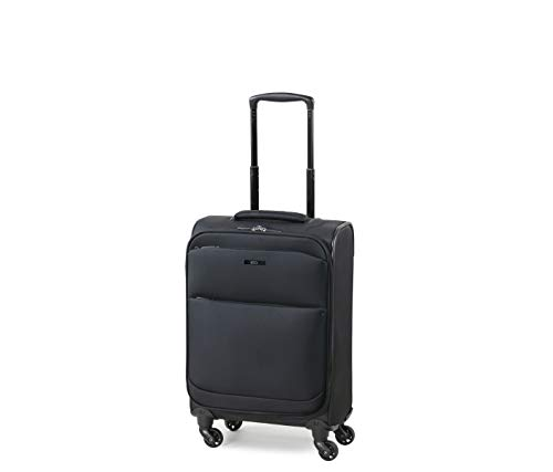 Rock Ever-lite 55cm Softside Flybe Compliant Cabin/Carry On Size Four Wheel Suitcase Black
