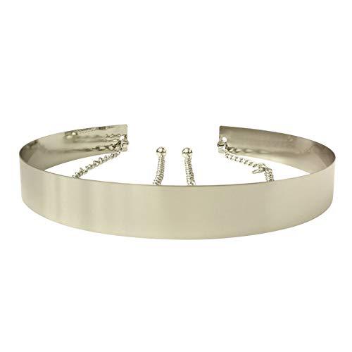 Live It Style It Damen Metall Gürtel Voll Waist Spiegel Breit Gold Silber Platte Bund Ketten Gürtel (3.5cm, Silber)