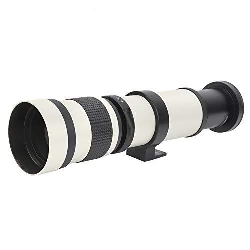 望遠レンズ、ポータブル420‑800mm F8.3‑16マニュアルフォーカスズーム望遠レンズキヤノンEFマウントカメラ用望遠鏡(白い)