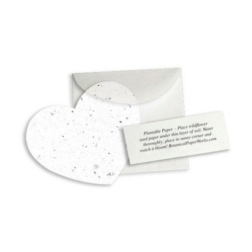 Plantable Heart Note Favor - White - Pack of 50