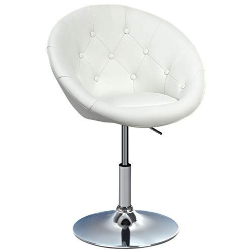 Happygrill Swivel Bar Chair Round Tufted Back Swivel Chair Makeup Chair Adjustable Vanity Chair Leather Bar Accent Stool