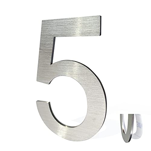 Stainless Steel House Numbers,Metal Modern House Numbers,Mailbox Decor Number,Self-adhesive house Number(3Inch-5, Silver)
