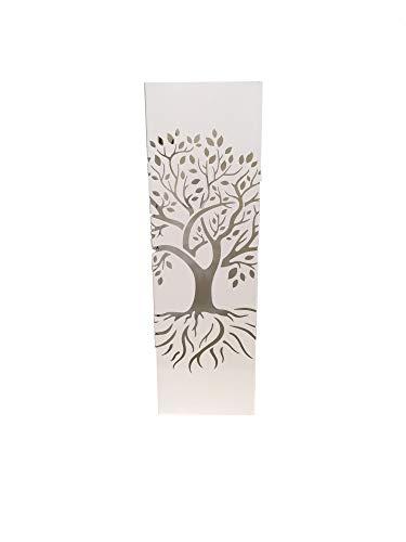 DRW Paragüero Cuadrado Metal Blanco Calado arbol de la Vida 15.5x15.5x49 cm