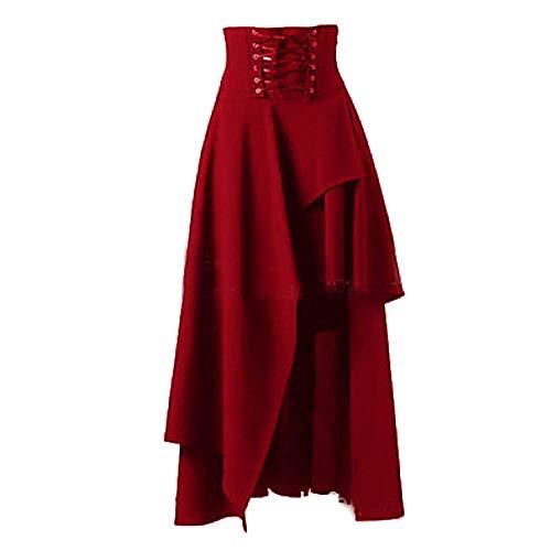 Damen Corsagenkleid Steampunk Gothic Corsage Lang Hexenkostüm Classic Rock Karneval Fasching Bekleidung Mit Spitze (Color : Rot, Einheitsgröße : XL)
