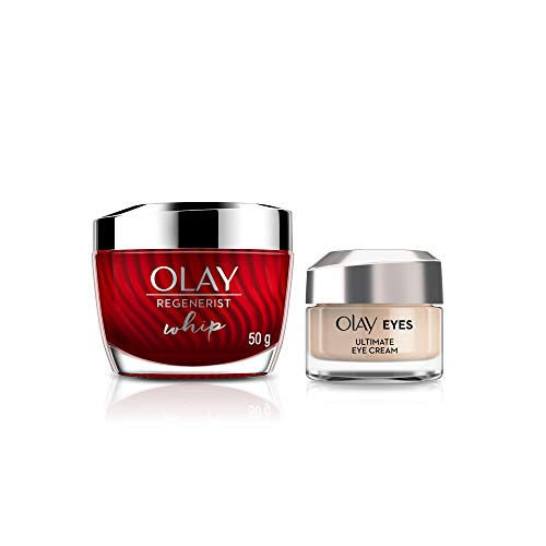 Olay Face Moisturizer + Eye Cream Regenerist Lightweight Whip Day Cream (Non Spf), 50 gm + Olay Eyes Ultimate Eye Cream…