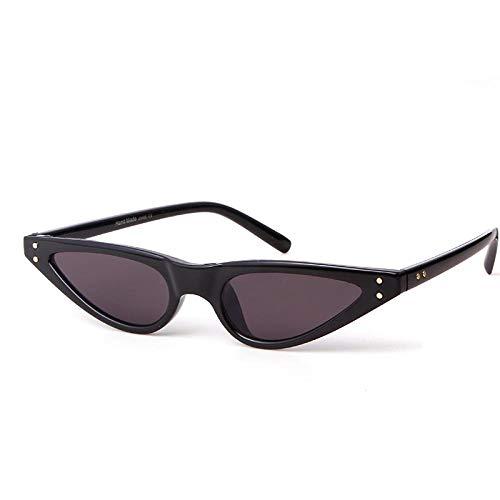 Gafas de Sol Pequeñas Gafas de Sol Triangulares Gafas de Sol Retro Cat Eye Mujer Negro Marco Rojo Femal 400UV Skinny Narrow Shades-Black