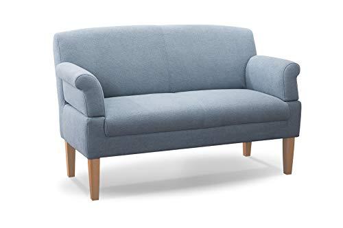CAVADORE 2-Sitzer Küchensofa Malm, Sitzbank für Küche oder Esszimmer inkl. Armteilverstellung, Leichte Fleckentfernung dank Soft Clean, 152 x 97 x 78, Flachgewebe: hellblau