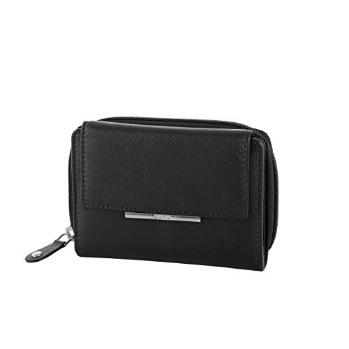 Rada Kunstleder Geldbörse mit - 11 Steckfächer - modisches Damen Portemonnaie - hochwertige Leder Optik (schwarz)