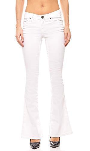 AJC Super Stretch Hose Damen Schlaghose Kurzgröße Jeans Weiß, Größenauswahl:34 (17 Kurzgröße) (17)