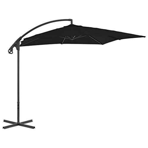 vidaXL Sombrilla Voladiza con Poste Parasol Exterior Patio Terraza Protección contra Rayos Ultravioleta Playa Piscina Toldo de Acero Negro