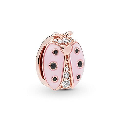 Auténtica Pandora 925 Cuentas De Plata Esterlina Diy Real Pearl Reflexions Pink Ladybug Clip Charm Fit Moda Mujer Pulsera Brazalete Joyería De Regalo