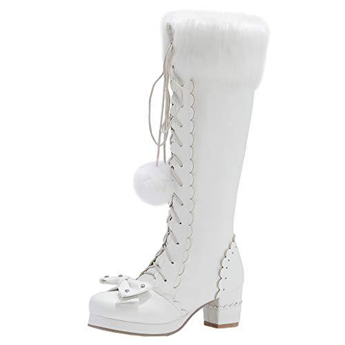 COCOLULU Damen Plateau Kniehohe Stiefel zum Schnüren Blockabsatz Lolita Stiefel Lace Up Knee High Boots mit Reißverschluss(EU Size 42, Weiß)
