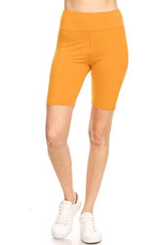 Leggings Mania Women's Regular Solid High Waisted Wide Band Bermuda Shorts G Mustard OneSize