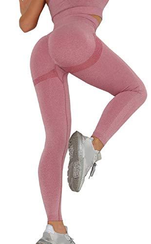CMTOP Pantalón Deportivo de Mujer Mallas para Running Training Fitness Estiramiento Yoga Leggins Pantalon Push up Deporte Cintura Alta Pantalones Deporte (Rosa, M)