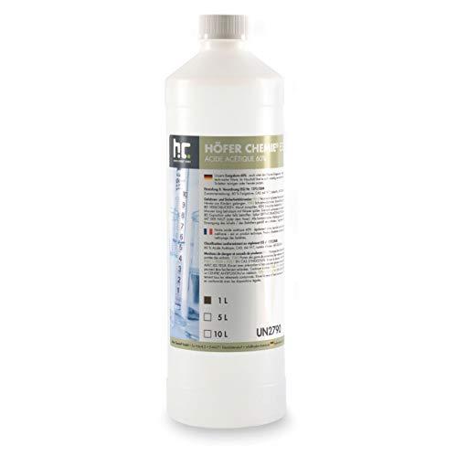 Höfer Chemie 1 x 1 L Essigsäure 60% - Zuverlässig bei der Beseitigung von hartnäckigen Verschmutzungen