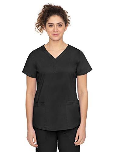 Purple Label by Healing Hands Scrubs Women's Jane V-neck 2 Pocket Top, Large - Black