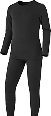 TSLA Kid's & Boy's and Girl's Thermal Underwear Set, Soft Fleece Lined Long Johns, Winter Base Layer Top & Bottom, Boy Thermal Fly-Front Set(khs303) - Black, Large