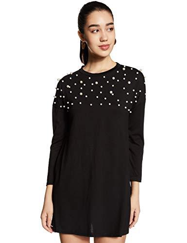 Molly & Sue Women's Synthetic Body con Mini Dress (dress170919118_Black_Large)
