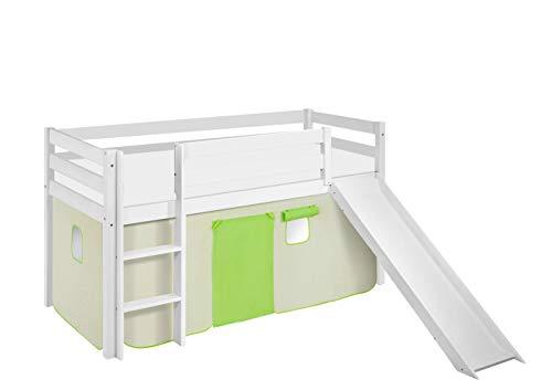 Lilokids Spielbett JELLE 90 x 190 cm Grün Beige - Hochbett weiß - mit Rutsche und Vorhang