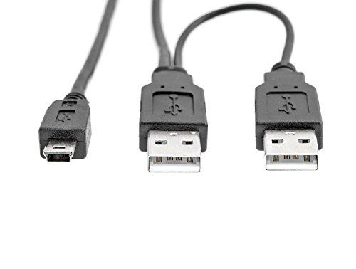 KnnX 28067 | USB 2.0 Dual Power Y 1m kabel | 2 x Type A mannetje naar Mini-B mannetje | levert extra vermogen aan externe harde schijven, dvd, cd, Blu-ray wanneer aangesloten op tv, Wii, computer, laptop en pc