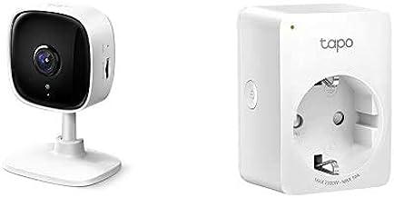 TP-Link IP Camara Vigilancia WiFi Interior + WiFi Enchufe Inteligente Mini Tamaño