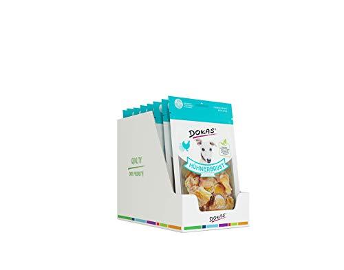 DOKAS Getreidefreier Premium Snack mit Hühnerbrust für Hunde, Apfel, 8 x 70g