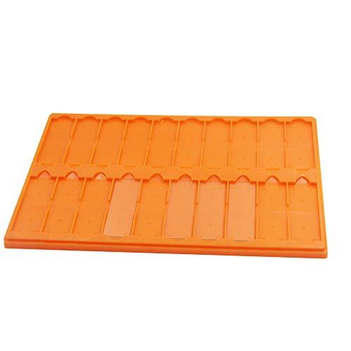 Plastic Microscope Slide Tray; 20 Capacity, One Pack (Orange)