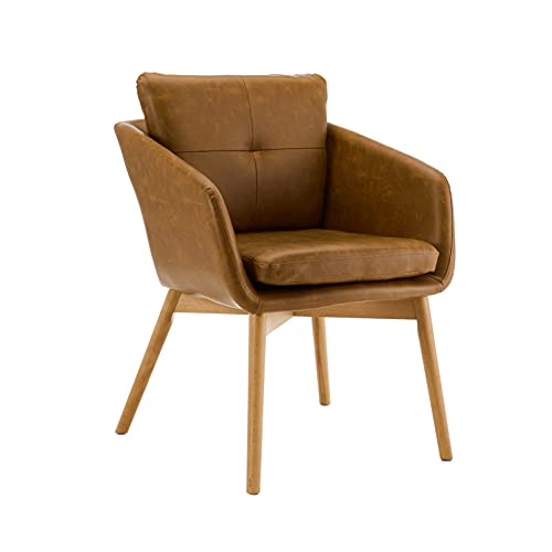 CangLong Faux Leather Side Chair Upholstered Arm Dinging Chair with Wood Legs Set of 1,Brown (Make Upholstered Chair)