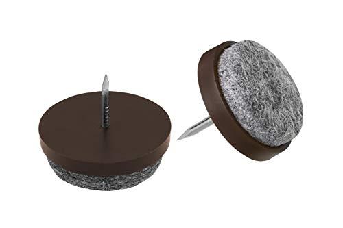 Metafranc Filz-Gleiter Ø 30 mm - Mit Nagel - braun - 20 Stück - Effektiver Schutz Ihrer Möbel & Stühle / Möbelgleiter-Set für empfindliche Böden / Stuhlgleiter / Bodengleiter / 644086
