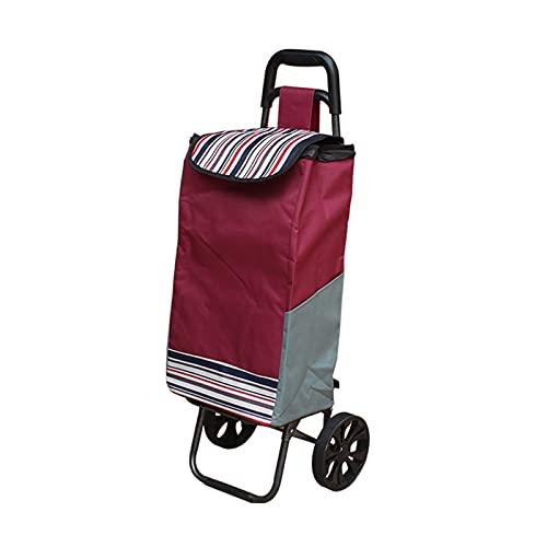 BIAOYU Carrito de compras plegable para escaleras, con tres ruedas silenciosas y bolsa de lona extraíble, reutilizable (color: vino tinto, tamaño: dos rondas)