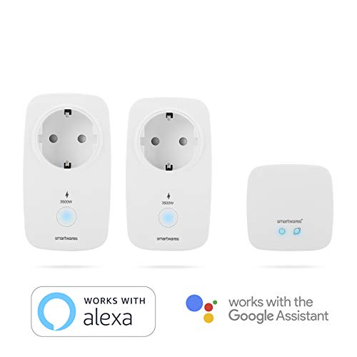 Smartwares Smart Home Pro | Funksteckdosen Set mit Energiemessfunktion inklusive Basistation, Weiß, steuerbar via gratis HomeWizard Link App | Alexa kompatibel