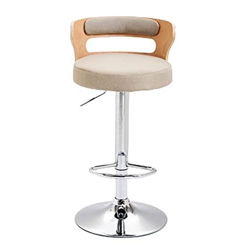 Caixai Barhocker im Europäischen Stil, Höhenverstellbarer, Leichter Luxus-Barstuhl, Baumwoll-Leinen-Sitz, Holzstuhl mit Hoher Rückenlehne, Einfacher Haushaltshocker(Color:CX-005)