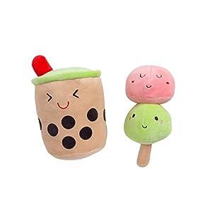 Yappy Snacks Dog Toy Set, Boba Bubble Tea and Mochi Ice Cream Pet Toys, Set of 2