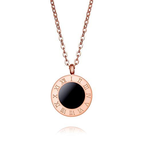 Mode Romeinse cijfer-halsketting, gepersonaliseerde trend zwart en wit ronde schaal titanium stalen ketting