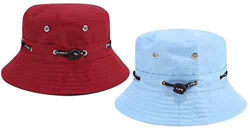Hemuu 2 PCS Sombrero para Sol/Fishing Hats, Sombrero Pesca del Sol Gorra para Mujer, Exterior Sombrero de ala Ancha, Sombrero de Pescador Cap, Gorra para el Sol para Mujeres (Azul Claro/Rojo Vino)