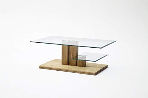 Robas Lund Couchtisch Massivholz Wohnzimmertisch Asteiche mit Glasablage, PACO BxHxT 110 x 40 x 70 cm