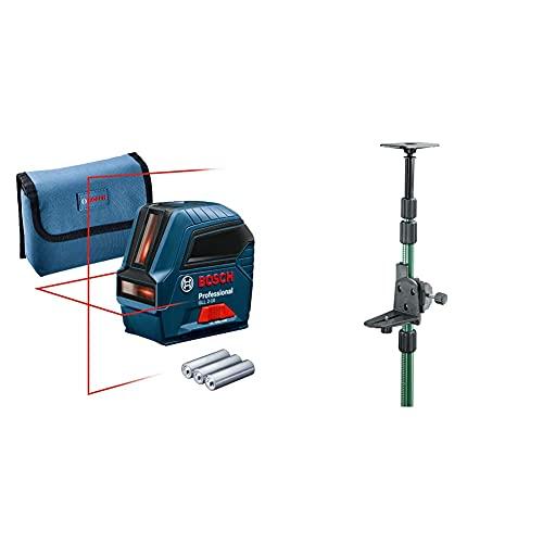Bosch Professional Livella Laser GLL 2-10 Laser Rosso, Raggio d'Azione fino a 10 m, 3x pile AA, Custodia Protettiva, Confezione in Cartone& Home and Garden 0603693100 Asta Telescopia, TP 320
