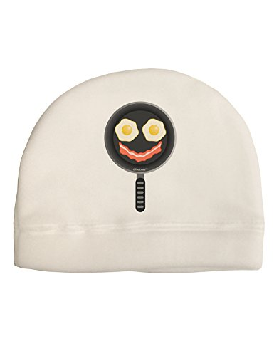 TOOLOUD Eggs and Bacon Smiley Face Adult Fleece Beanie Cap Hat White