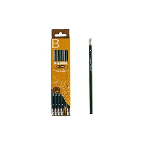 B事務用鉛筆消しゴム付12本入 〔12個セット〕 32-775