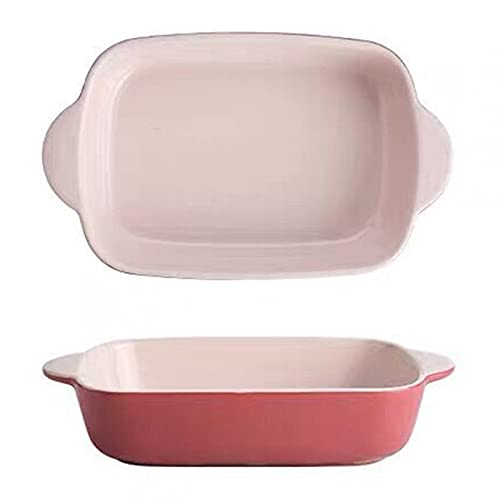 YXKA Rectangular Baking Dish Lasagna Pans Porcelain Bakeware Set Super Large Rectangular with Heat-Resistant,Pink