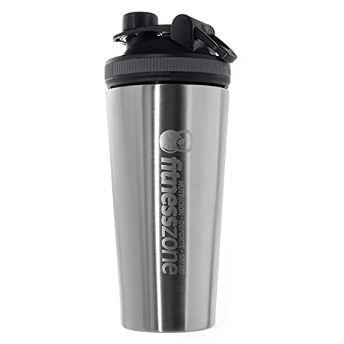 Fitness Zone   Shaker de Acero Inoxidable 750 ml Libre de BPA   Bottle Cocktail Para Batidos, Proteínas u Otras Bebidas   Tapón Anti-Apertura + Filtro Especial Evita Grumos   Coctelera y Mezcladora