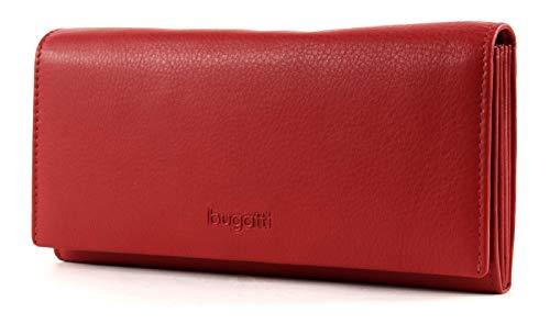 Bugatti Vertice Geldbörse Damen Groß viele Fächer Leder 25CC - Portemonnaie Damen Leder - Portmonee Geldbeutel Damengeldbörse - Rot