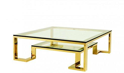 Casa Padrino Art Deco Designer Couchtisch Gold 120 x 120 x H. 40 cm - Wohnzimmer Salon Tisch Hotel Möbel