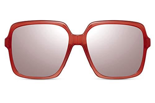 Cheapass Sonnenbrille ÜbergrößeViereckig Schmetterling Promi-Mode Rot Transparent Schattierungen mit pinken Flash Linsen UV400 geschützt Frauen
