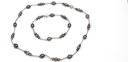 Juego de collar y pulsera de plata de ley maciza de perlas de Tahití, regalo para madre, esposa, abuela, joyería de diseño para mujer, de agua dulce, perla de Tahití, de seda individual, regalo