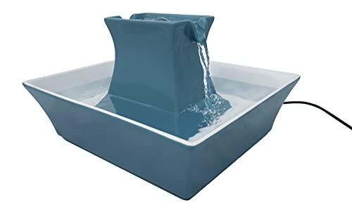 PetSafe Fontaine à eau en Céramique pour Chats et Chiens avec filtres inclus, Distributeur Eau silencieux Drinkwell Pagoda pour Animaux 2 L, 2 Becs Verseur, facile à nettoyer, Bleu