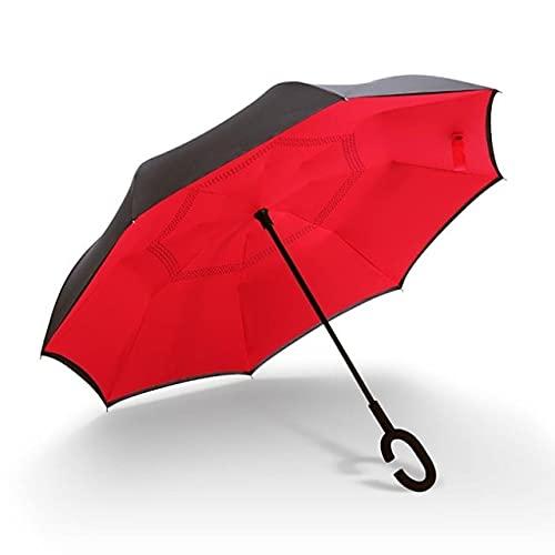 Funmoon - Paraguas de golf invertido, doble capa, cortavientos, gancho en C, para hombres y mujeres