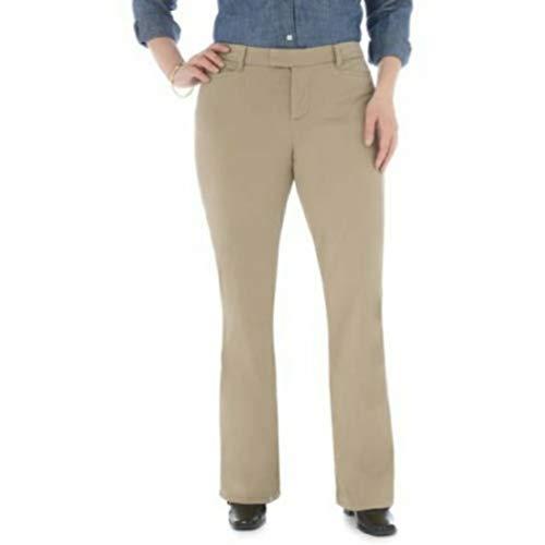 LEE Riders Heavenly Touch Casual Pants Mid Rise Boot Cut (Dark Khaki, 16 Medium)