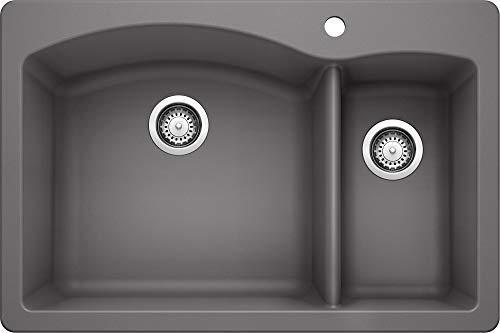 "BLANCO, Cinder 441464 Diamond Silgranit 70/30 Double Bowl Drop-In or Undermount Kitchen Sink, 33"" X 22"""