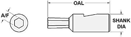 Shank X 1-3//4 OAL Somma 5//16 HEX Internal Rotary Broach with 1//2 Dia Somma# HX2-5//16-F